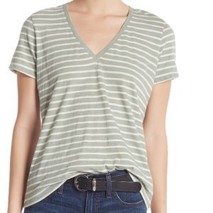 MADEWELL Theresa Striped V-Neck Shirt
